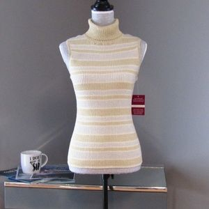 NEW Cable & Gauge Silk Blend Sleeveless Turtleneck